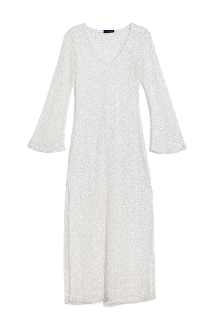 WHITE NET V DRESS